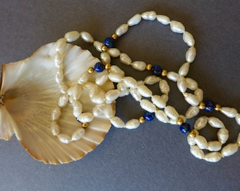 """Fresh Water Pearl Necklace Lapis and Gold-Tone Beads 30"""" / Vintage Cultured Fresh Water Pearls Necklace"""