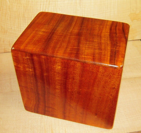 "Curly Hawaiian Koa Companion Cremation Urn... 10"" x 7"" x 9"" Keep Grandma and Grandpa Together Forever KC020217"