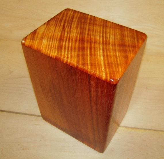 """Large Curly Hawaiian Koa Memorial Cremation Urn... 7""""wide x 5""""deep x 9""""high Wood Adult Cremation Urn Handmade in Hawaii LK082017-A"""