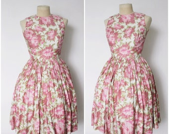 Vintage 1950s Dress | 50s Pink Floral Dress | 1950s Full Skirt Dress | Floral Dress