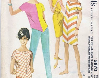 SALE 60s McCall's 5870 Junior Sportswear - Pants or Shorts, Overblouse and Beach Dresses Sewing Pattern CUT