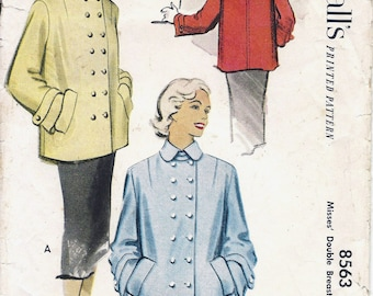 1950s 8563 McCall's Double Breasted Jacket Sewing Pattern CUT