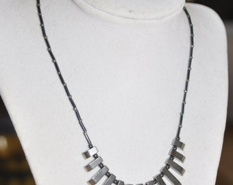 Necklace Graduated Hematite Gunmetal Beaded #290217