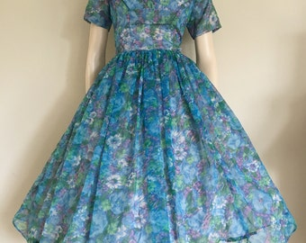 Lovley 50s Blue Floral Chiffon Party Dress / Full Skirt / Small Medium / Garden Party