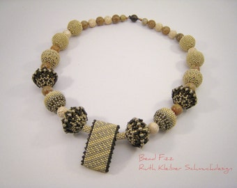 Beaded Beads Necklace with Jasper Beads, Beadwoven Beads, Beige and Brown Semiprecious Stones Jewelery, Natural Colored Gemstone Necklace