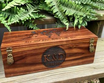Wine Box, Custom Wine Box, Wedding Gift, Wedding Wine Box, Wedding Gift, Rustic Wine Box, Engraved Wine Box
