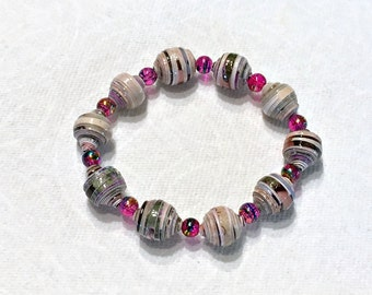 Pink  Paper Bead Bracelet First Paper Anniversary Gift