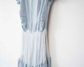 1940s Powder Blue Gown || Vintage Prom Dress || Satin Evening Dress