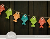 Gone Fishing - Fish Banner - Fish on a Line - Instant Download - Tania's Design Studio