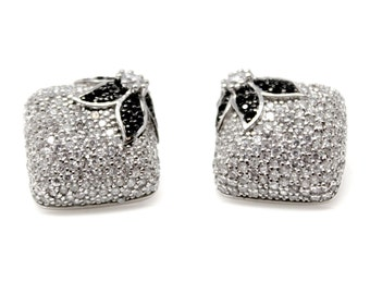 Silver Stud Earrings Black and White Cubic Zircon