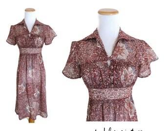 Boho Dress Sheer Floral 70s Hippie Bohemian Maroon Earth Tones Size Small Medium 1970s