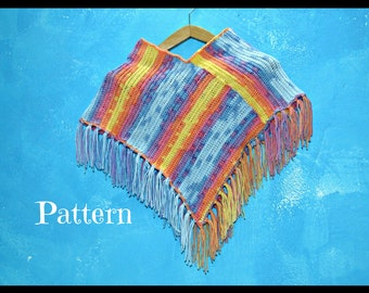 crochet pattern poncho for kids - poncho girls - left handed pattern - crochet tutorial - easy crochet pattern - rainbow poncho - crochet