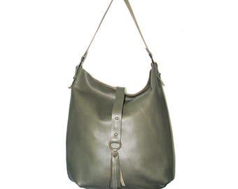 moss green leather hobo bag