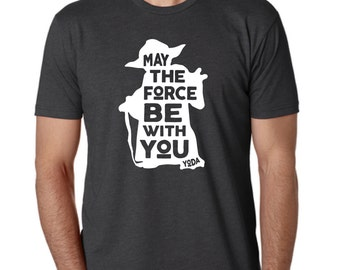 "Star Wars Yoda ""May The Force Be With You"" T-Shirt - Men and Women Sizes"