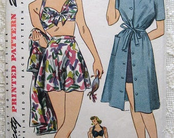 Vintage 40s  Pinup Halter Bathing Two Piece Suit Swimsuit Beach Dress. Simplicity Sewing Pattern 1022.  Size 16
