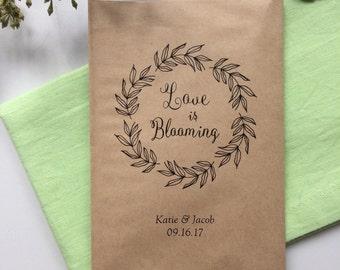 50 Love is Blooming - Seeds Favor Bags - Wedding Favors