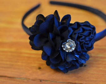 Navy Blue Flower Headband with rhinestone center