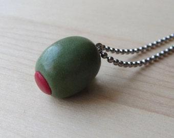 Olive Necklace, Kawaii Miniature Food Olive, Chef Bartender Jewelry, Food Humor Gift, Olives Martini Lover Gift, Vegetarian Necklace