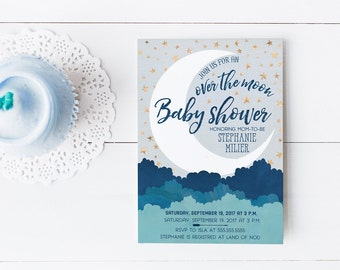 Over the Moon Baby Shower Invitations - Navy Blue and Gold Boy Shower Invites - Printed or Printable Invitations