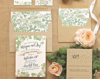 Greenery and Roses Wedding Invitation Set - Rustic Wedding Invite Suite for a Barn Chic Wedding - Printable - Printed