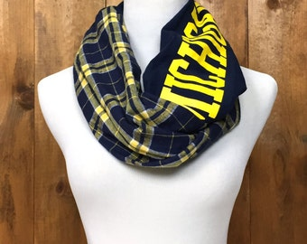 University of Michigan upcycled Flannel infinity T-Shirt Scarf
