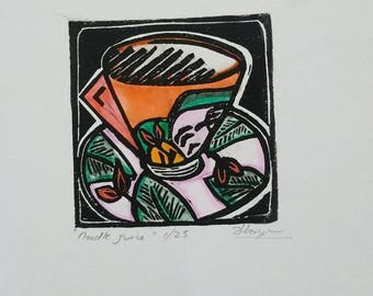 Original linocut, hand coloured, Clarice Cliff Inspired by Australian Artist