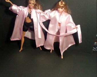 Barbie Robe. Luxurious Satin Robe. Doll Clothes. Handmade Robe. Blythe, Pullip, OOAK Sleepwear.  Doll Robe. Barbie Pajamas. House Coat.