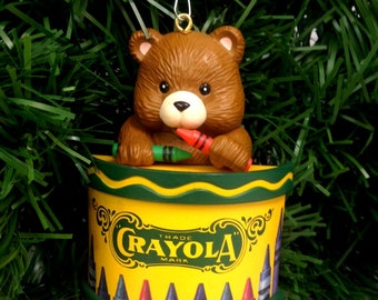 adorable Crayola teddy bear ornament Binney & Smith original Christmas bear children's school teacher gift kitschy kitschmas yesteryears