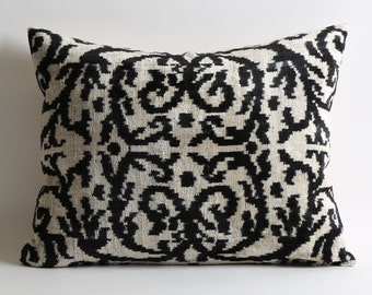 black ikat pillow cover black white pillow ikat pillows modern throw pillows decorative living room