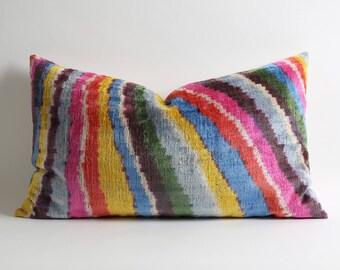 Luxurious rainbow silk velvet ikat pillow cover 16x26 Velvet Pillow Covers