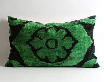 Decorative green black lumbar ikat velvet pillow covers // 16x26 silk velvet ikat pillows