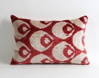 Red wine cream white decorative throw pillow covers // 12x18 handwoven silk velvet ikat pillows // accent pillow couch sofa toss pillow