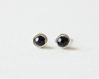 Minimalist Black Tourmaline Sphere Sterling Silver Stud Earrings/simple faceted round gemstone ear studs/ 5mm 6mm everyday post earrings B