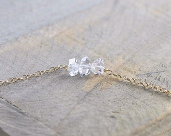 Delicate Herkimer Diamond Necklace in Sterling Silver or Gold Filled, April Birthstone Necklace, Dainty Natural Herkimer Diamond Jewelry