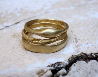 Gold Stacking Rings Designed Rings Jewelry Stackable gold bands set Unique Stacking rings Trendy rings Wedding bands Women's wedding bands