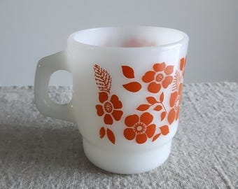 Anchor Hocking Fire King coffee mug / cup, Baby Rose pattern, orange on white glass - excellent condition // stacking, office mug, Fireking