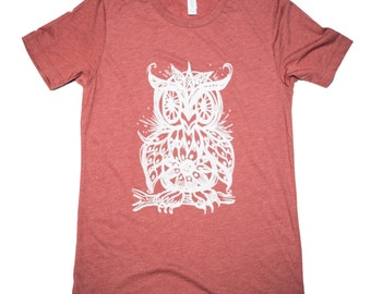 Mens T shirt Owl-Unisex-Bella Canvas Crew Neck Tee-gifts for men-gifts for women, cool shirt, screech owl, great horned, mosaic owl