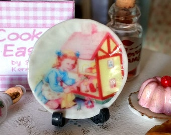 Dolls House miniature Girl with dolls house Ceramic Plate