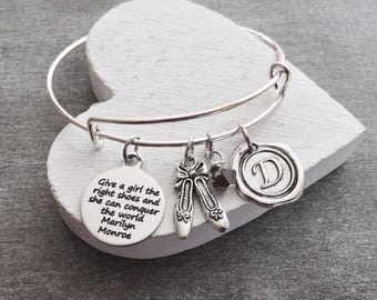 Give a girl the right shoes, Marilyn Monroe, Dance Jewelry, Dance Gift, Dance Bracelet, Dance Charm, Expandable, DANCE RECITAL GIFT