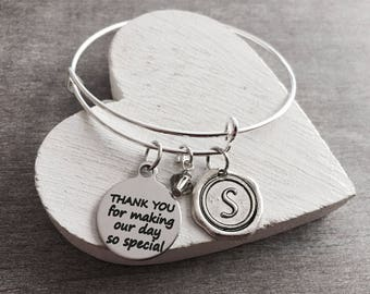THANK YOU, for making our DAY so Special, Wedding Favor, Wedding Gift, Destination Wedding, Wedding Keepsake, Bridesmaid, Silver Bracelet