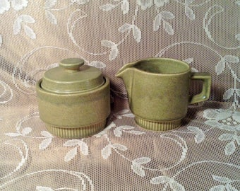 Large Ceramic Sugar & Creamer Set - Green, Earthtone Drip Glazed Green Design - Rustic Country Kitchen