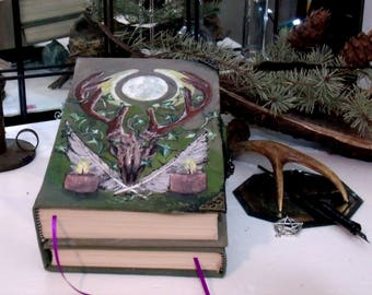 Horned Moon TriFold Book 500 pages Hand Painted 6x9 Blank Book of Shadows