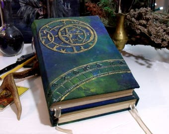 Astrologic TriFold 600p Lined Blank Book of Shadows, Hand Painted 6x9 Grimoire