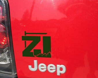 Jeep Cherokee ZJ with Mountains V2 Decal