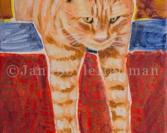 "Orange Tabby Cat - 8x10"" Print of Original Acrylic Cat Portrait Painting"