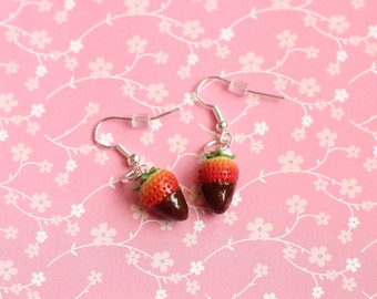 Chocolate Covered Strawberry Earrings, Miniature Food Jewelry