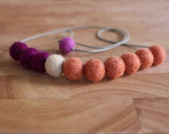 Felt Ball Necklace // Apricot, Cream and Boysenberry