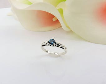 Ready To Ship! AA Sterling Silver Scroll London Blue Topaz Ring Blue Topaz And Silver Ring Size 7 Blue Topaz Solitaire Ring FREE US Ship