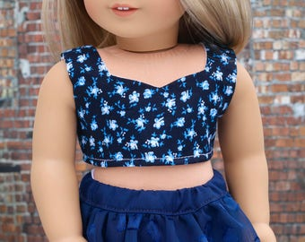 Doll Clothes | Navy Blue Floral Print Woven CROP TOP for 18 Inch doll such as American Girl Doll