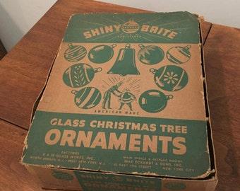 Vintage Shiny Brite Ornament Box - Perfect for framing